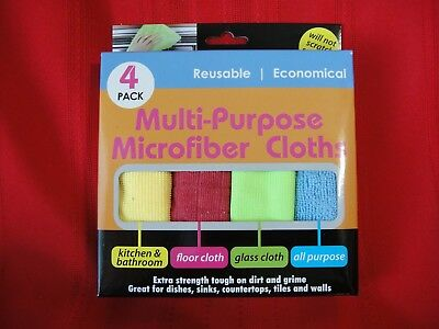 MULTI-PURPOSE MICROFIBER CLOTHS (4), Reusable, Will Not Scratch Services, NEW