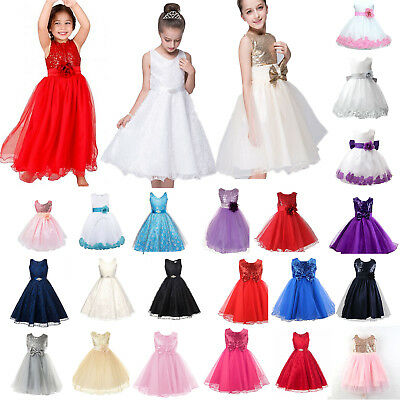 Girl Kid Flower Princess Dress Pageant Bridesmaid Wedding Formal Party Tutu Gown