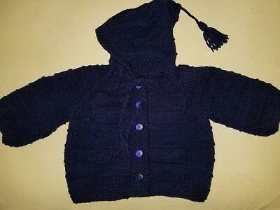 Handknit Baby Sweater with Hoodie Toddler size Midnight Blue