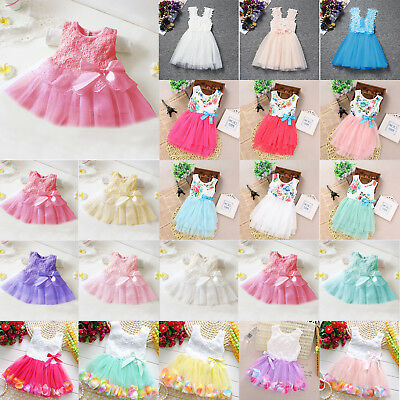 Baby Flower Girls Princess Dresses Pageant Wedding Party Bowknot Tutu Dress New