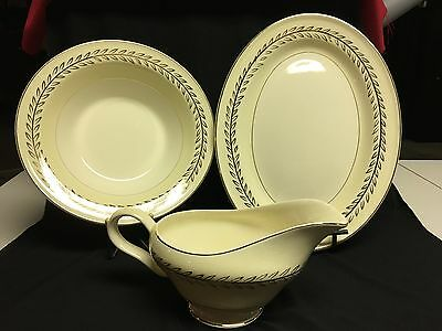 Vintage Edwin M Knowles Semi-Vitreous China Platter, Bowl & Gravy Boat