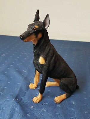 Doberman Pinscher Hand Painted Dog Figurine Statue