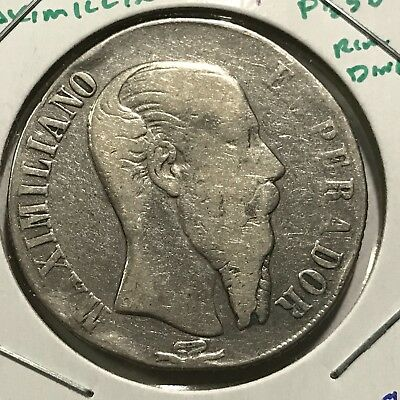 MEXICO 1866 Mo MAXIMILLIAN SILVER PESO RARE CROWN COIN