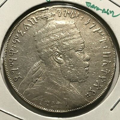 1889 Ethiopia Silver One Birr Large Scarce Crown  Coin