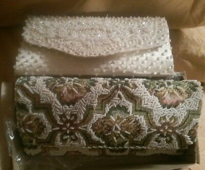 TWO! NEW in box Vintage ART Deco Nouveau Antique seed Beaded Purse Clutch 9x4.5""