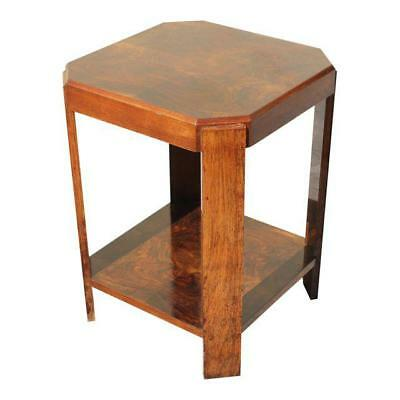 Beautiful French Art Deco Burl Walnut Square Side Table Circa 1940's AS IS .