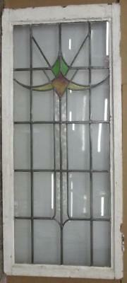 """LARGE OLD ENGLISH LEADED STAINED GLASS WINDOW Cute Geometric 20.5"""" x 46.75"""""""