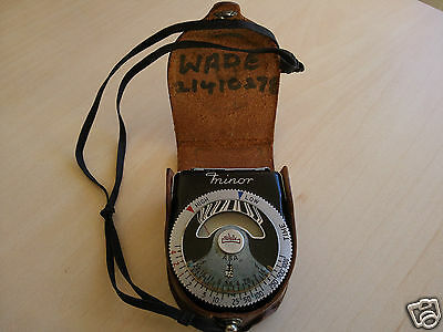 Rare WALZ MINOR Exposure Light Meter with Leather Pouch CENTRAL ELECTRONIC