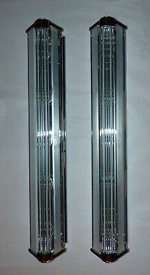 Art Deco Bathroom Wall Sconces, Chrome, Glass Rods, 5 Light, Excellent Pair.