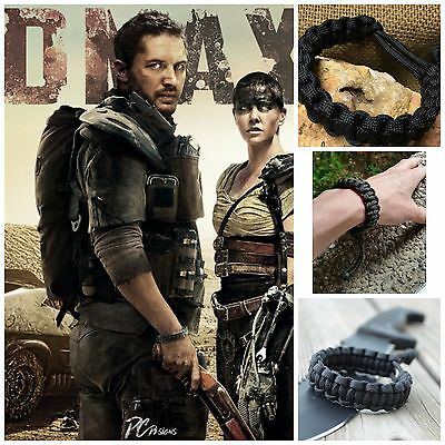 Mad Max Inspired Adjustable Paracord Survival Bracelet Wristband