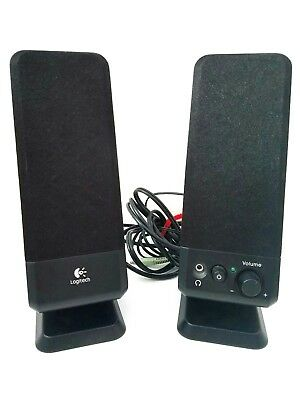 "Logitech Black R-10 Model S-0152A1 Double 10"" Tall Computer Desk Speakers TESTED"