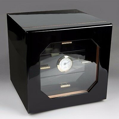 Limited Cedar Lined Piano Black 3 drawer Cigar Humidor w/ Hygrometer 100 Cigar