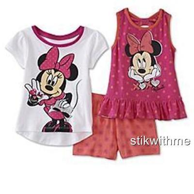 NWT Disney Minnie Mouse ~ 2 Tops & 1 Shorts SET ~  Toddler Girls'  (SIZE 4T)