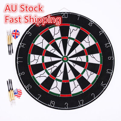 "18"" TWO SIDE PRINTING DART BOARD + 6 X DARTS Steel Wire Inlay Durable Games AU"