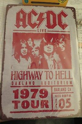 ACDC highway to hell  tin metal sign MAN CAVE brand new 20 by 30 cm