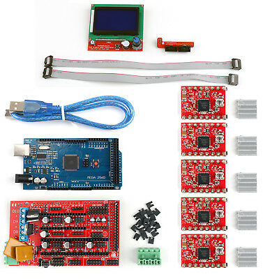 3D Printer Kit RAMPS 1.4+ Mega2560+ A4988+ 12864 LCD Controller For Arduino AU