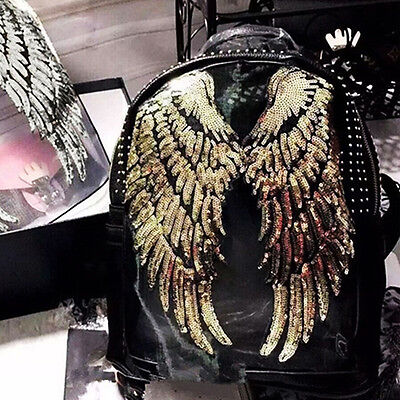 1Pair Angel Wings Decor Applique Motif Sequins Iron-On Embroidered Patch