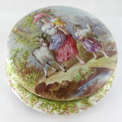 Large Antique French Limoges Enamel on Bronze Jewelry Casket Box, Mother & Child