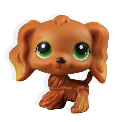 #252 Littlest Pet Shop RARE Chocolate Brown Cocker Spaniel Dog Green Eyes LPS