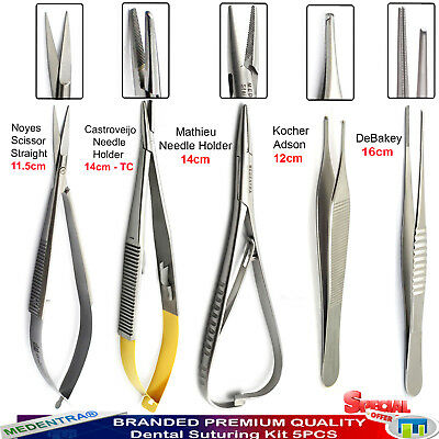 5Pcs Microsurgical Small Animal Oral Surgery Tools Castroviejo Scissors Forceps
