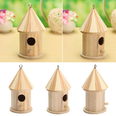 Pet Bird Wooden House Birdhouse Hanging Nest Nesting Box Hook Garden Decor# US