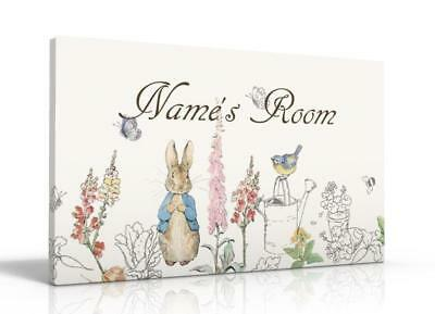PERSONALISED DOOR SIGN / NAME PLAQUE - Peter Rabbit Beatrix Potter FREE P&P