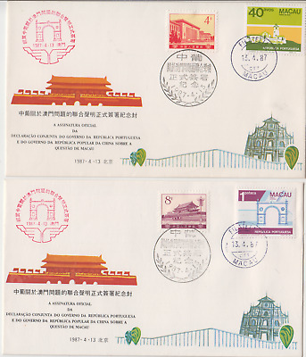 1987 Macau Architecture issues & Chinese stamps on pair souvenir covers postmark