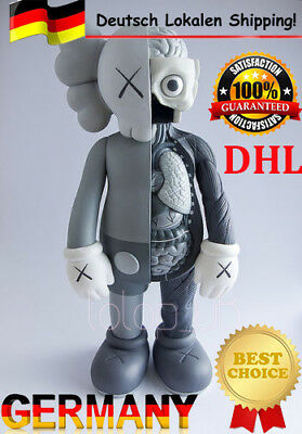 "New 16"" Original Fake KAWS Half Dissected Companion Action Figures Toy Grey DHL"