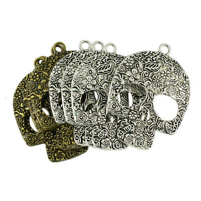 8Pcs/Lot Skull Charms Antique Silver/Bronze Gothic Halloween Scary Pendants