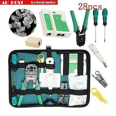 RJ45 Crimper CAT5 CAT6 Cable Stripper Network Tool Kit Tester Pouch Down AU
