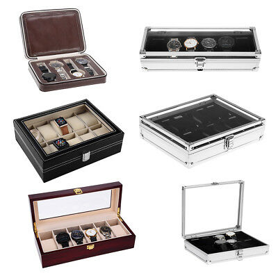 Aluminium Leather Wood Watch Display Storage Box Case Tray Watch Collector Case
