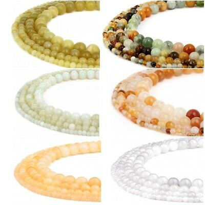 RUBYCA Natural Jade Gemstone Round Loose Beads Jewelry Making 4mm 6mm 8mm 10mm