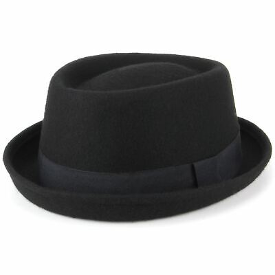 Porkpie Pork Pie Black Hat Wool Felt Hawkins BLACK Band Jazz Fedora