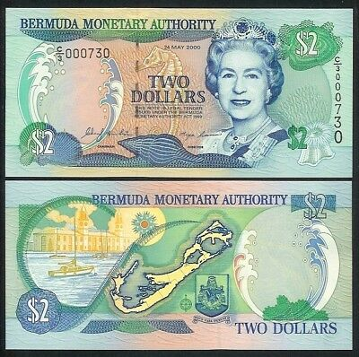 Bermuda 2 Dollars 2000 P50 Uncirculated