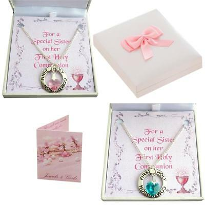 First Holy Communion Day Necklace for Girl with Birthstone Heart. Gift Boxed.