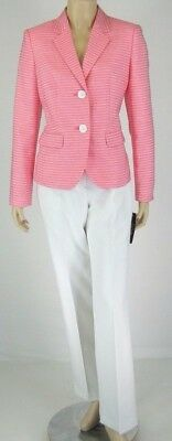 Le Suit Pink White  Jacket Blazer Pant Suit Size 4 $200 New 9275