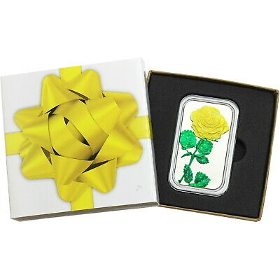 Yellow Rose 1oz .999 Silver Bar Glitter Enameled