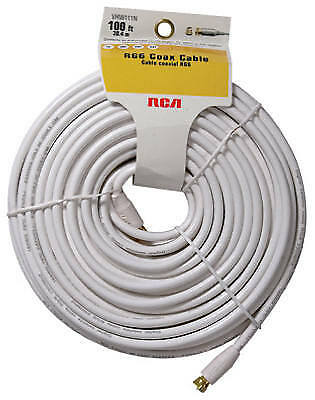 """100' White Rg6 Coax Cable With """"f"""" Connectors, Audiovox, VHW111N"""
