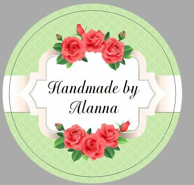 24 x 40mm Personalised Stickers Round Labels Vintage Rose Pink Green Handmade