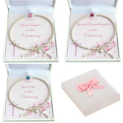 Girls Christening Bracelet with Birthstone. Gift for Daughter, Goddaughter etc