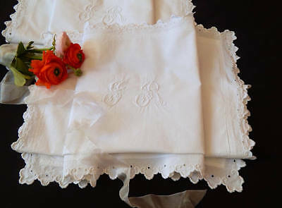Vintage French Pillow Cases Pair of Euro Shams in Finest Cotton Hand Embroidery