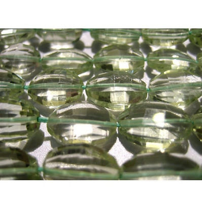 """5"""" Half Strand Green Amethyst Oval Beads, Amethyst Micro Faceted Step Cut Beads"""