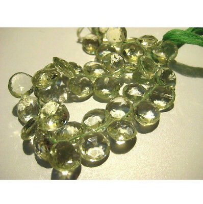 """8"""" Strand Green Amethyst Heart Shape Beads, Faceted Amethyst Briolettes"""