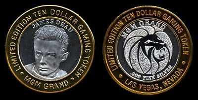 Limited Edition TEN DOLLAR .999 SILVER Gaming Token MGM Grand JAMES DEAN