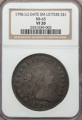 1796 $1 early dollar Draped Bust BB-65, VF20 NGC