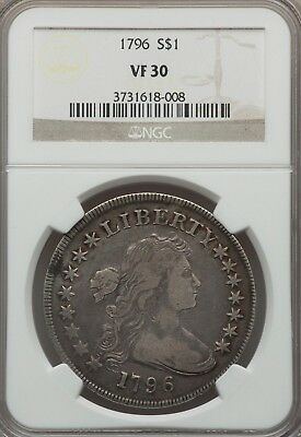 1796 $1 early dollar Draped Bust VF30 NGC  -Lg Date, Sm Letters, B-5, BB-65,