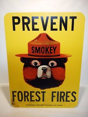 Vintage U.S. Forest Service Smokey Bear sign. 1960's Pennsylvania issue.
