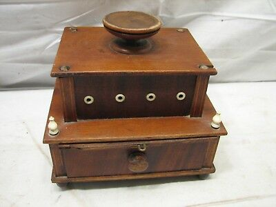 Antique Wooden Ornate Sewing Notion Box Pin Cushion Spool Cabinet Wood