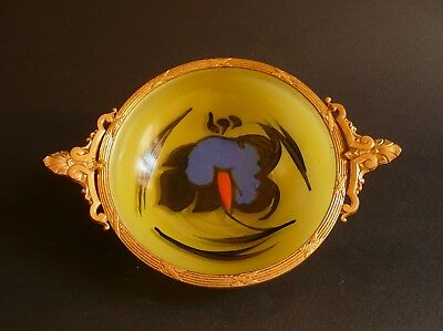Antique French Art Nouveau Enameled Glass vanity Dish Tray Galle Daum Nancy 5""