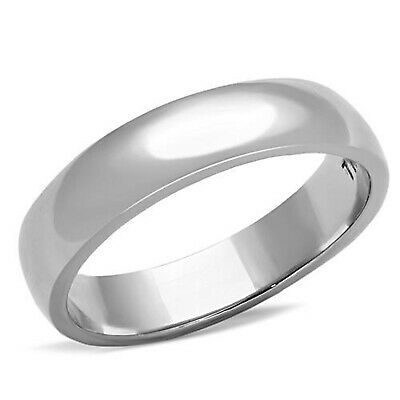 4mm Silver Dome Ring Wedding Band 316 Stainless Steel Mens Womens Sizes 5 - 13